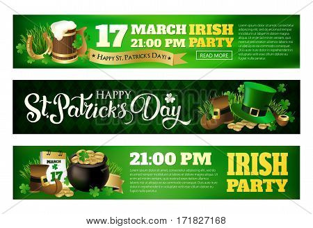 Banner illustrations for celebrating St. Patrick's Day. Leprechaun hat, pot of gold, clover and flag.