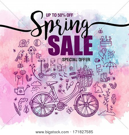 poster Spring sales, set of black icons and symbols with bike on a watercolor background, flyer templates with lettering. Typography poster, card, banner design element. Vector illustration