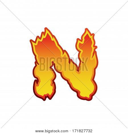 Letter N Fire. Flames Font Lettering. Tattoo Alphabet Character. Fiery Sign Alphabet
