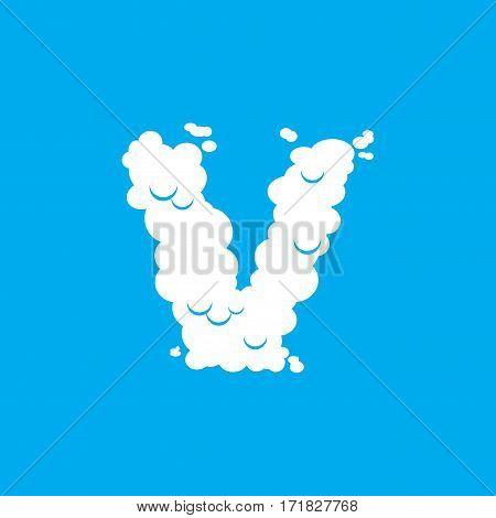 Letter V Cloud Font Symbol. White Alphabet Sign On Blue Sky