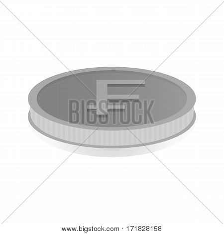 Vector illustration of a silver coin with the symbol of the franc.