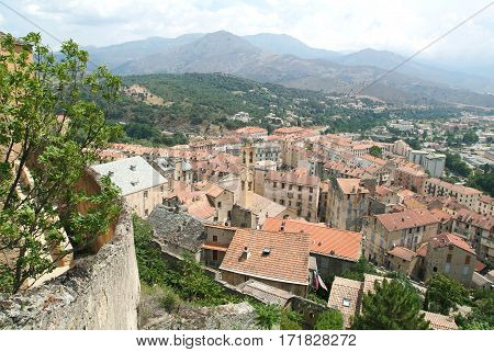 The town of Corte on Corsica island France