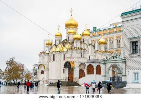 MOSCOW, RUSSIA- November 11, 2016: View of the church of the Moscow Kremlin on winter day. The Cathedral of the Annunciation.