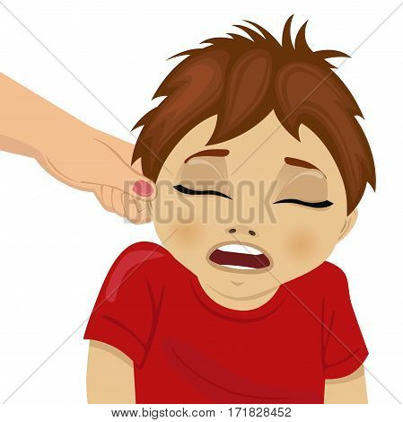 mother pulling a son's ear over white background