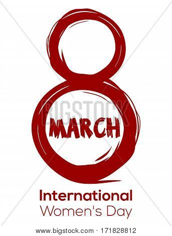 Creative red color design element for Women's Day. 8 March. International Women's Day. Greeting inscription.  Red vector lettering isolated on a white background