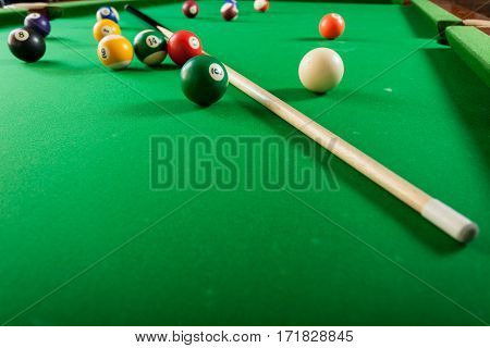 Snooker Ball And Stick On Billiard Table