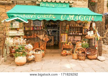Sartene Corsica island - 1 July 2006: Traditional food shop at Sartene on the island of Corsica France