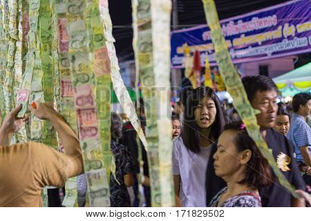 Thai Buddhism Donate A Money Banknotes