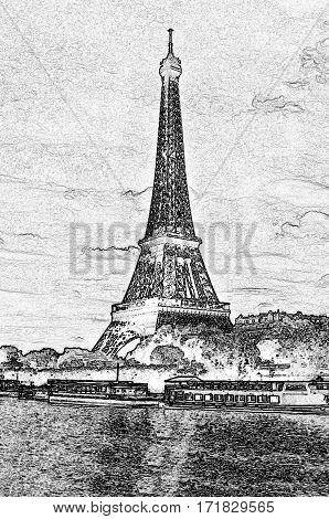 eiffel tour over Seine river Paris France black-and-white drawing