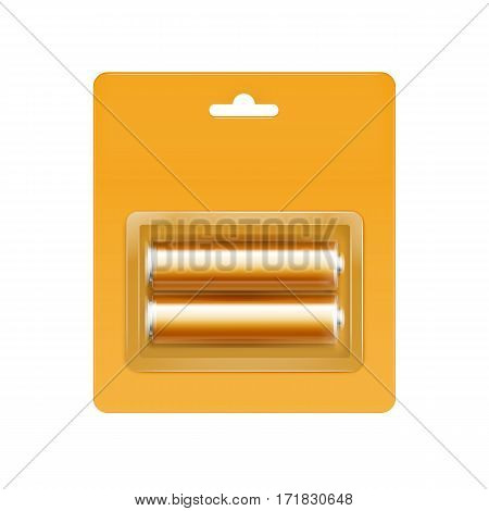 Vector Yellow Orange Glossy Alkaline AA Batteries in Yellow Orange Blister Packed for branding Close up Isolated on White Background