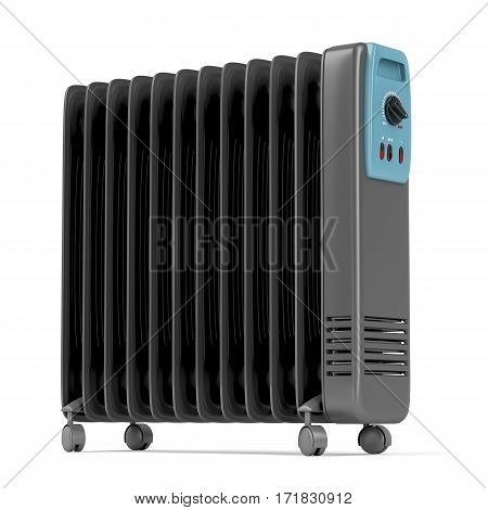 Electric oil heater on white background, 3D illustration