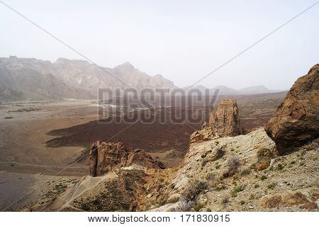 Landscape of the Teide National Park in Tenerife Canary Islands Spain