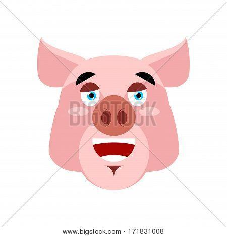 Pig Happy Emoji. Piggy Merry Emotion On White Background. Farm Animal