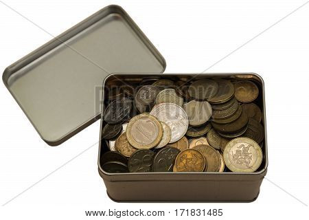 Iron coins of different denominations lie in a tin