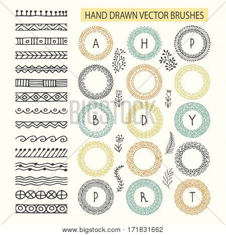 Vector Decorative Scribble Paintbrushes with Inner and Outer Corners. Hand Drawn Ink Brushes. Seamless Whimsical Borders for Patterned Frames.