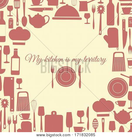 Background of kitchen items kitchen monochrome-vector illustration. Plate fork knife. Banner all for kitchen. my kitchen is my territory