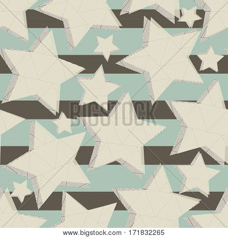 Seamless pattern of stars on a striped background. Ornament of the stars of the triangles. EPS 10