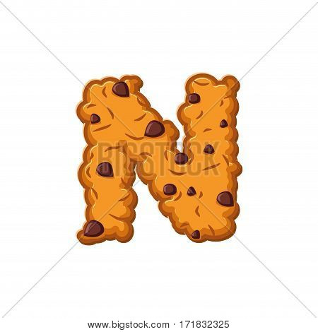 N Letter Cookies. Cookie Font. Oatmeal Biscuit Alphabet Symbol. Food Sign Abc