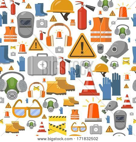 Job safety flat icons. Protective equipment seamless pattern . Workwear helmet, gloves, extinguisher, headphones vector illustration.