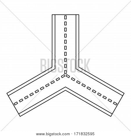 Forked road icon. Outline illustration of forked road vector icon for web