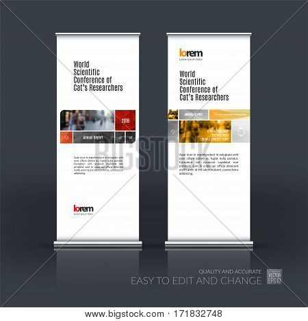 Abstract business vector set of modern roll Up Banner stand design template with many red rectangles, soft shapes for exhibition, show, exposition, expo, presentation, parade, events.