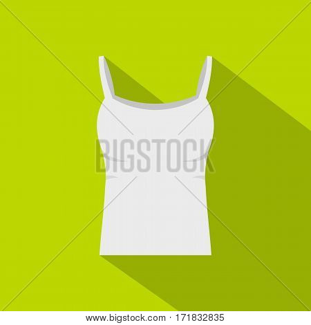 White woman tank top icon. Flat illustration of white woman tank top vector icon for web isolated on lime background
