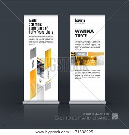 Abstract business vector set of modern roll Up Banner stand design template with many yellow rectangles, soft shapes for exhibition, show, exposition, expo, presentation, parade, events.