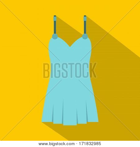 Blue nightie icon. Flat illustration of blue nightie vector icon for web isolated on yellow background