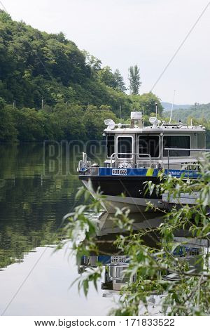 Czech river police. Summer 2016, river Labe.