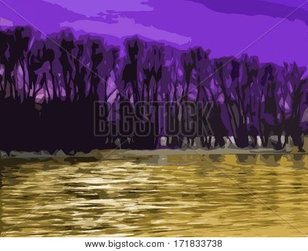 Abstract, abstraction background, art background. Artistic abstraction. Abstract landscape.Landscape. Purple and gold. River.