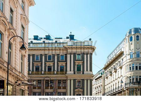 VIENNA, AUSTRIA-April 20, 2016: Viennese Classical style building on April 20, 2016.Vienna, Austria, Europe