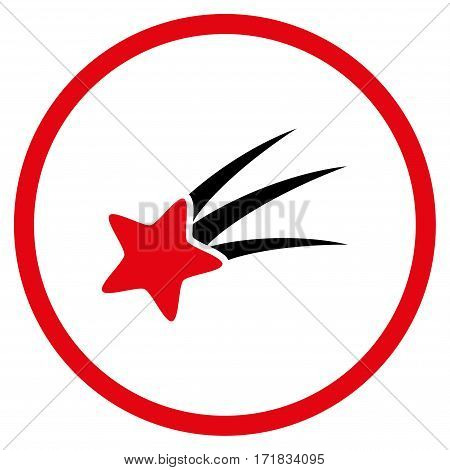 Falling Star rounded icon. Vector illustration style is flat iconic bicolor symbol inside circle intensive red and black colors white background.