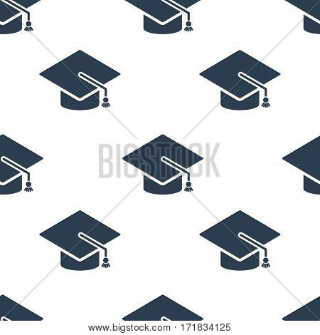 Graduation cap icon seamless pattern, tiling ornament on white. Vector background.
