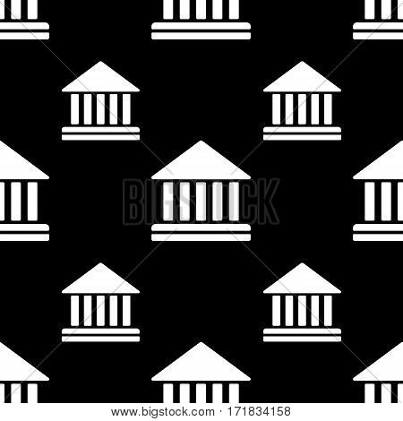 Court building vector icon seamless pattern, tiling ornament. Vector background black and white.