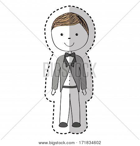 just married man drawing vector illustration design