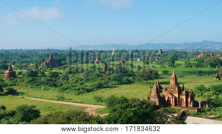 Pagodas scattering on the plains in Bagan, Myanmar