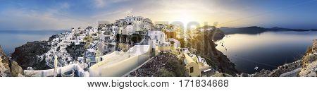 Panoramic view of Oia village on Santorini island Greece.
