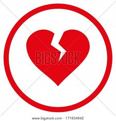 Heart Break rounded icon. Vector illustration style is flat iconic bicolor symbol inside circle intensive red and black colors white background.