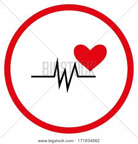 Heart Pulse Signal rounded icon. Vector illustration style is flat iconic bicolor symbol inside circle intensive red and black colors white background.