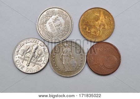 One cent from different countries, American liberty, euro cent, switzerland, Russia