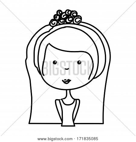 just married woman drawing vector illustration design