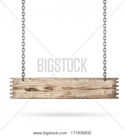 Hanging wooden sign isolated on white -Clipping Path