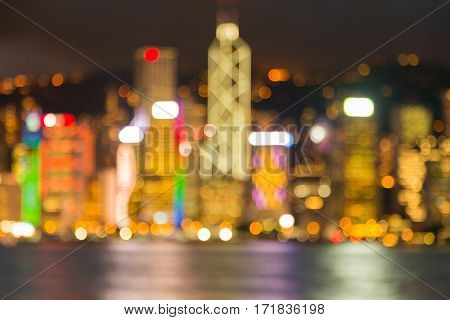 Hong Kong city blurred bokeh lights sea front abstract background