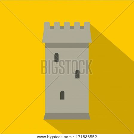 Battle tower guarding the fortress icon. Flat illustration of battle tower guarding the fortress vector icon for web isolated on yellow background