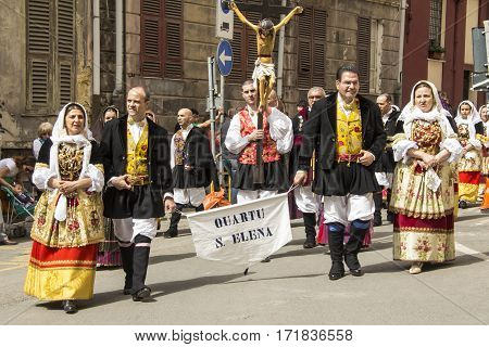 CAGLIARI, ITALY - May 1, 2013: 357 Religious Procession of Sant'Efisio - Sardinia - Parade of folk group Su Idanu Quartu