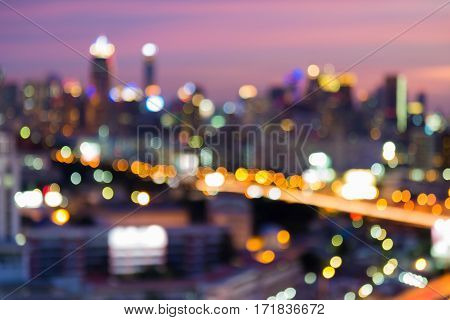 Blurred bokeh city light night view abstract background