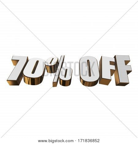 70 percent off letters on white background. 3d render isolated.