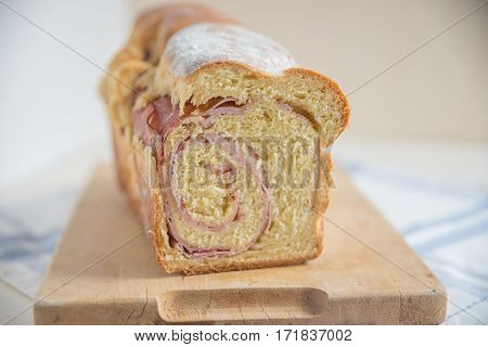 Traditional German Easter bread stuffed with ham
