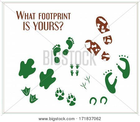Human footprint with trash and pure animal footprints. Ecology poster