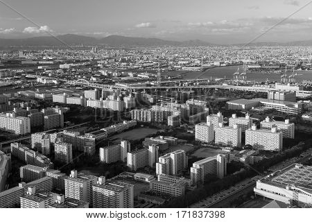 Black and White Osaka city downtown from Cosmo squa building Japan